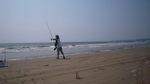 千里浜でのキス釣り